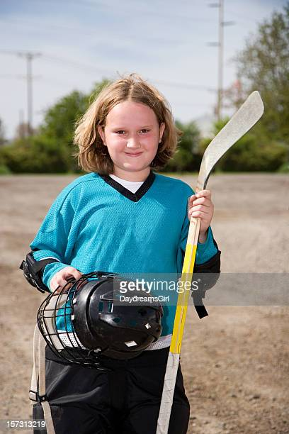 hockey girl - kid sports - hockey stick stock pictures, royalty-free photos & images