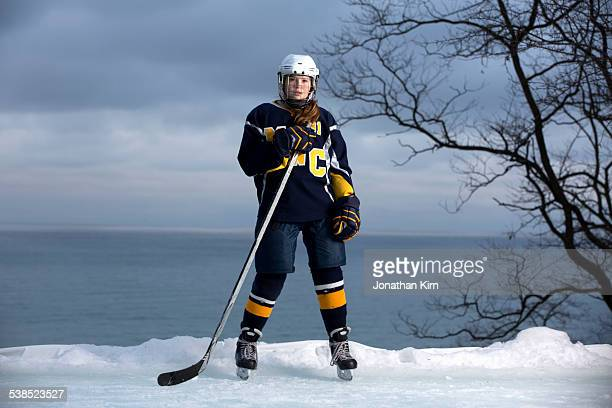 hockey girl portrait - hockey stock pictures, royalty-free photos & images