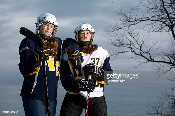 hockey girls portrait. - ice hockey glove stock pictures, royalty-free photos & images