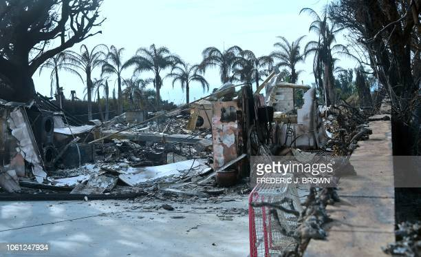 Hockey goal remains intact amid the burnt down remains of singer-songwriter Robin Thicke's house in Malibu, California on November 13, 2018. - At...