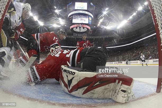 Goalie cam view of New Jersey Devils goalie Martin Brodeur Bryce Salvador and Ilya Kovalchuk in action vs Pittsburgh Penguins Evgeni Malkin Newark NJ...