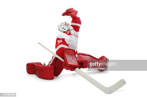 hockey goalie making save - goalkeeper stock pictures, royalty-free photos & images