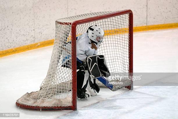 hockey goalie - doelman ijshockeyer stockfoto's en -beelden