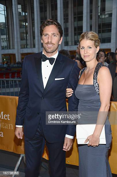 Hockey goaltender Henrik Lundqvist and wife Therese Lundquist attend the 2012 Metropolitan Opera Season Opening Night performance of L'Elisir D'Amore...