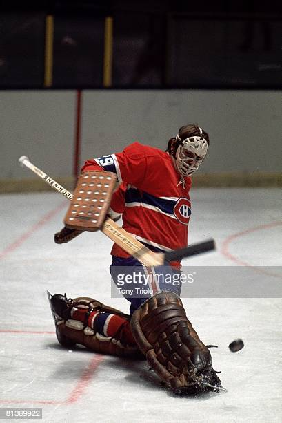 Hockey Goaltender Ken Dryden of the Montreal Canadiens makes a kick save against the St Louis Blues on November 9 1968 in Montreal Canada