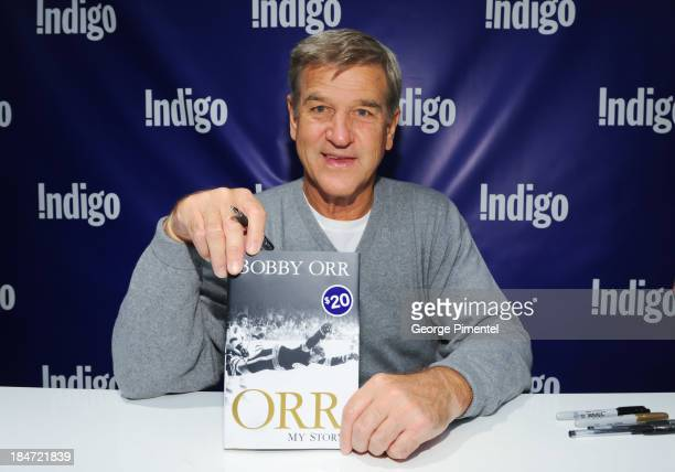 Hockey Great and Hall of Famer Bobby Orr signs copies of his new book Orr My Story at Indigo Toronto Eaton Centre on October 15 2013 in Toronto Canada