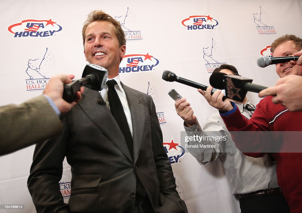 U.S. Hockey Hall of Fame Class of 2012 recipient, Mike Modano talks with the media before the 40th annual U.S. Hockey Hall of Fame Induction Ceremony & Dinner at Plaza of the Americas on October 15, 2012 in Dallas, Texas.