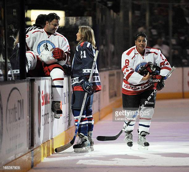 Hockey Hall of Fame inductees Dino Ciccarelli, Cammi Granato and Angela James left the bench after the first half of Sunday afternoons Legends game...
