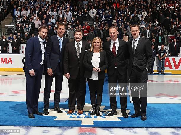 Hockey Hall of Fame Inductees Peter Forsberg, Mike Modano, Bill McCreary, Line Gignac Burns representing her husband Pat Burns, Dominik Hasek and Rob...