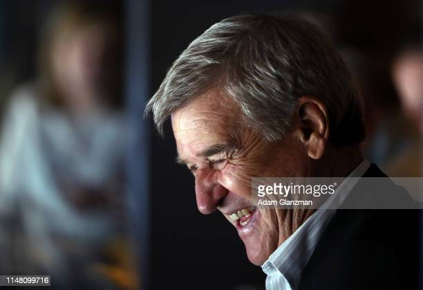 Hockey Hall of Famer and former Boston Bruins player Bobby Orr attends Game One of the Eastern Conference Final between the Carolina Hurricanes and...