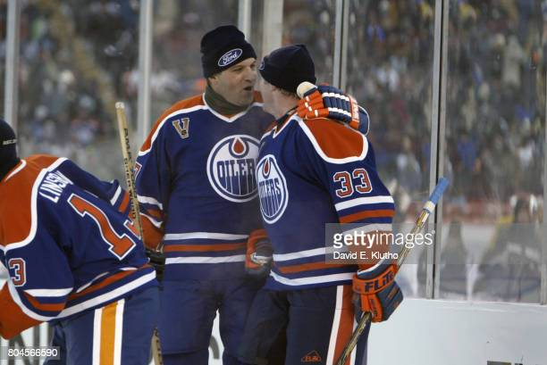 Heritage Classic Edmonton Oilers Dave Semenko with Marty McSorley during game vs Montreal Canadiens during Megastars Alumni Game at Commonwealth...