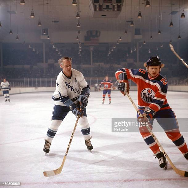 Houston Aeros Gordie Howe in action vs Edmonton Oilers at Sam Houston Coliseum Houston TX CREDIT Neil Leifer
