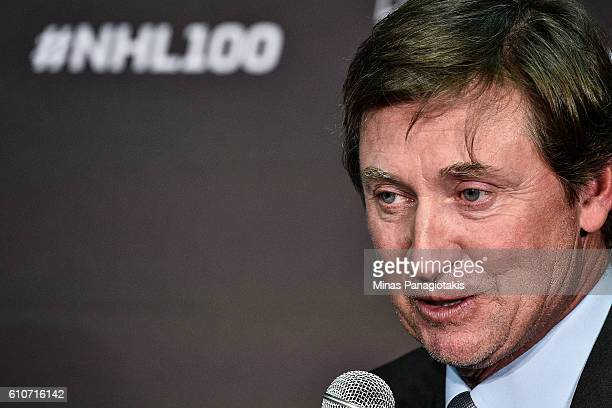 Hockey icon Wayne Gretzky speaks with media after unveiling the League's Centennial celebration plans for 2017 during a press conference at the World...