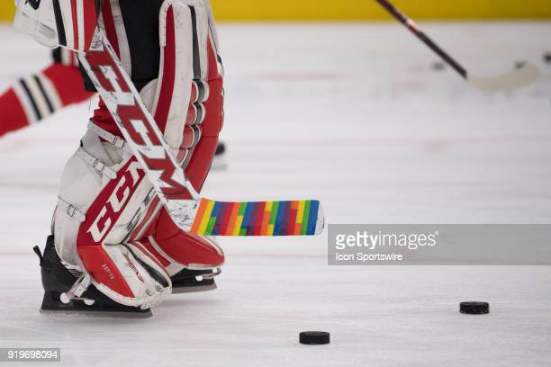'Hockey is for Everyone' Pride taped is seen during warms up prior to a game between the Chicago Blackhawks and the Anaheim Ducks on February 15 at...