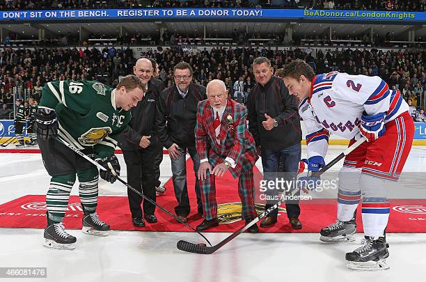 Hockey Legend Don Cherry drops the ceremonial puck prior to play between the Kitchener Rangers and the London Knights in an OHL game at Budweiser...