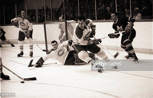 Hockey Montreal Canadiens Emile Butch Bouchard and goalie Gerry McNeil in action vs Toronto Maple Leafs CAN