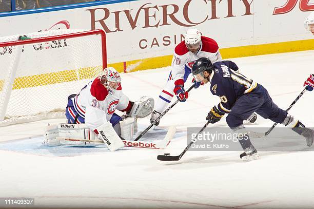 Montreal Canadiens goalie Carey Price in action vs St Louis Blues Andy McDonald at Scottrade CenterSt Louis MO 3/10/2011CREDIT David E Klutho