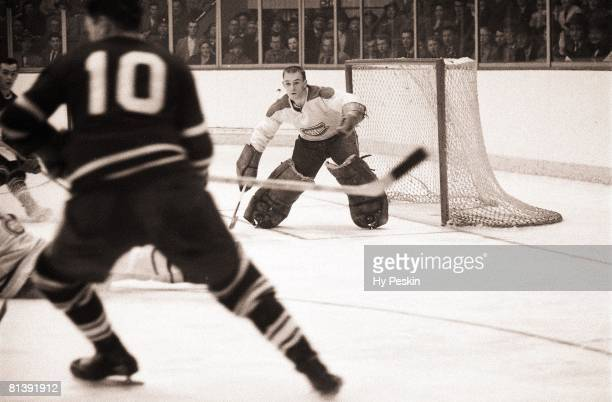 Hockey Montreal Canadiens goalie Charlie Hodge in action vs Toronto Maple Leafs CAN