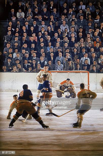 Hockey Montreal Canadiens goalie Jacques Plante in action vs New York Rangers New York NY