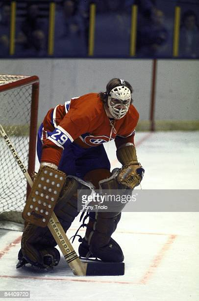 Montreal Canadiens goalie Ken Dryden in action vs New York Rangers New York NY CREDIT Tony Triolo