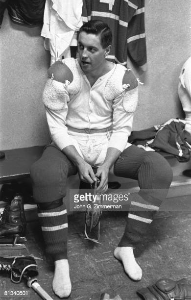 Hockey Montreal Canadiens Jean Beliveau in locker room before game vs Chicago Blackhawks Montreal CAN 1/25/1958