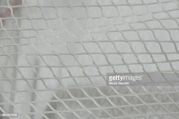 A hockey net during game 1 of the 2008 NHL conference quarterfinal series between the New York Rangers and the New Jersey Devils on April 9 2008 at...