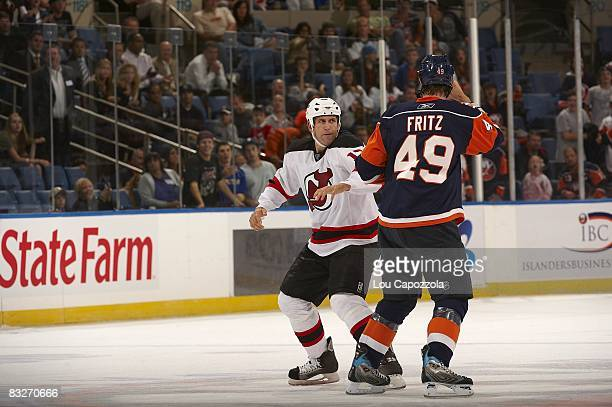 0a05b1525 New Jersey Devils Mike Rupp during fight with New York Islanders Mitchell  Fritz during preseason game