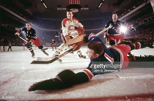 Hockey New York Rangers goalie Gump Worsley in action vs Montreal Canadiens Claude Provost New York NY