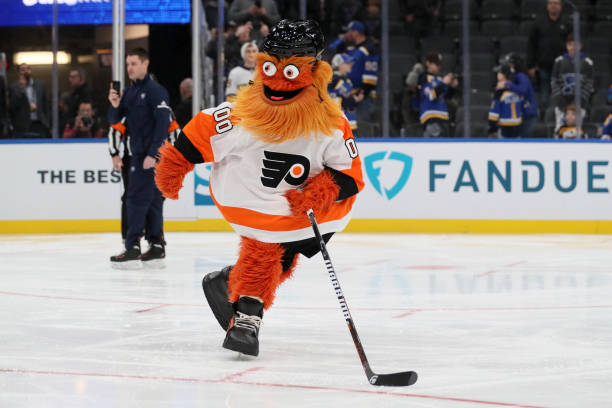 All-Star Game: Philadelphia Flyers mascot Gritty on ice before game at Enterprise Center. St. Louis, MO 1/25/2020 CREDIT: David E. Klutho
