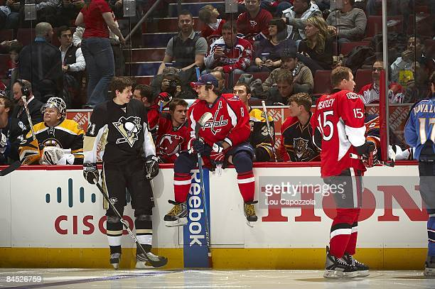 NHL Fan Fav Breakaway Challenge Washington Capitals Alexander Ovechkin and Pittsburgh Penguins Evgeni Malkin during Honda NHL SuperSkills of All Star...