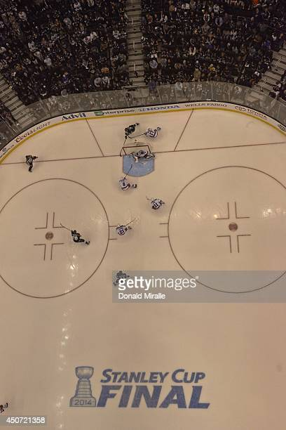 NHL Finals Aerial view of Los Angeles Kings Jeff Carter in action vs New York Rangers John Moore and goalie Henrik Lundqvist at Staples Center Game 5...