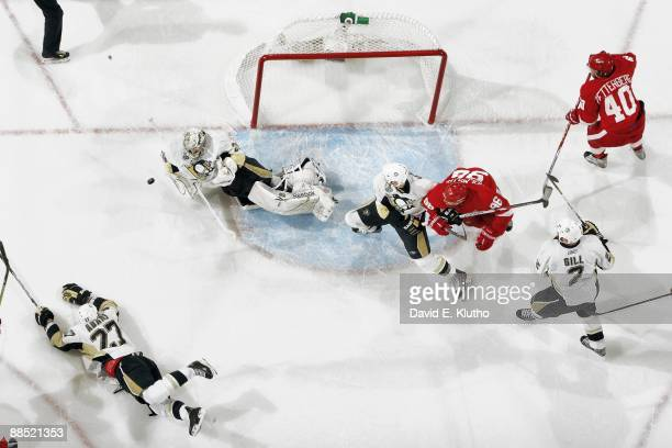 NHL Finals Aerial view of Pittsburgh Penguins goalie MarcAndre Fleury in action making save during final seconds of Game 7 vs Detroit Red Wings...