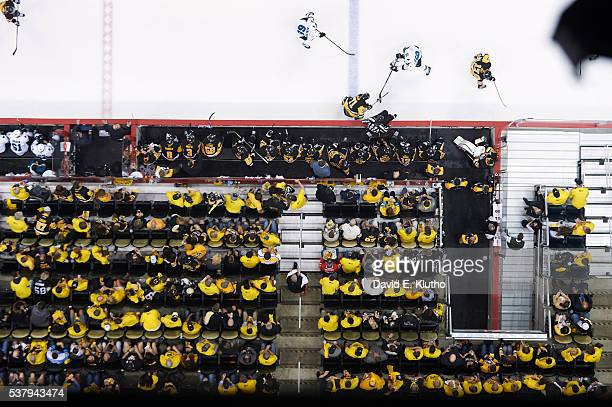 NHL Finals Aerial view of San Jose Sharks Nick Spaling in action vs Pittsburgh Penguins Evgeni Malkin at Consol Energy Center Game 2 Pittsburgh PA...