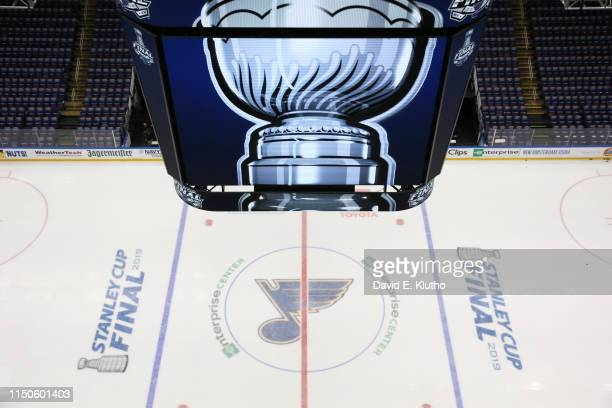 Aerial view of St. Louis Blues logo on center ice before game vs Boston Bruins at Enterprise Center. Game 6. St. Louis, MO 6/9/2019 CREDIT: David E....