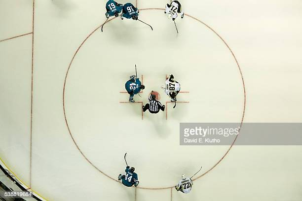 Aerial view San Jose Sharks Joel Ward during faceoff vs Pittsburgh Penguins Sidney Crosby at 3SAP Center. Game 3. San Jose, CA 6/4/2016 CREDIT: David...