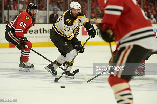 NHL Finals Boston Bruins Patrice Bergeron in action vs Chicago Blackhawks at United Center Game 2 Chicago IL CREDIT David E Klutho