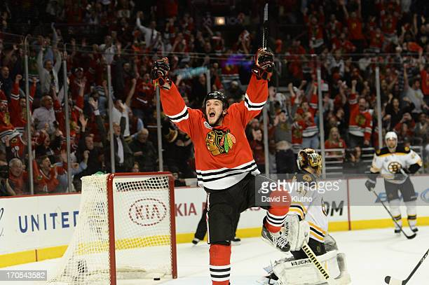 NHL Finals Chicago Blackhawks Andrew Shaw victorious after scoring game winning overtime goal vs Boston Bruins at United Center Game 1 Chicago IL...