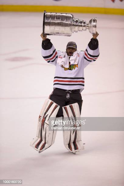 NHL Finals Chicago Blackhawks goalie Ray Emery victorious with Stanley Cup Trophy after winning Game 6 and championship vs Boston Bruins at TD Garden...