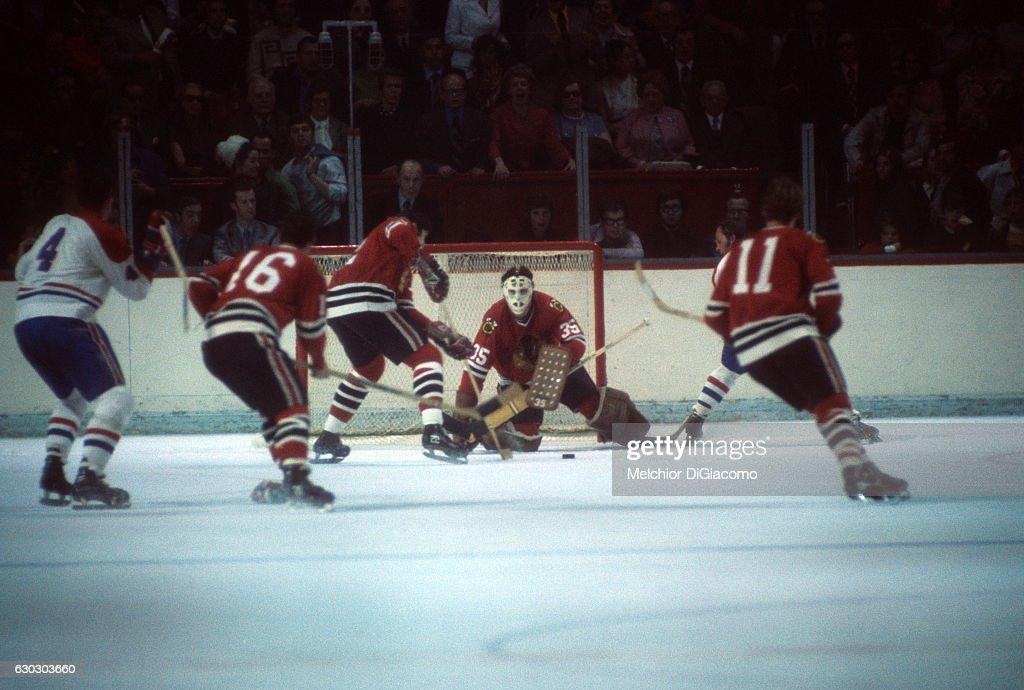88206e29e20 Chicago Blackhawks goalie Tony Esposito in action vs Montreal ...