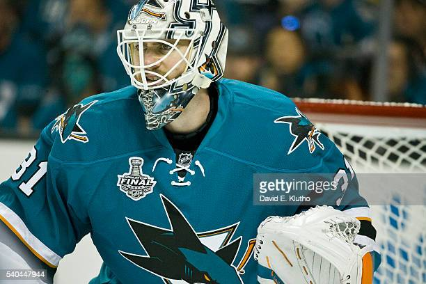 NHL Finals Closeup of San Jose Sharks goalie Martin Jones during game vs Pittsburgh Penguins at SAP Center Game 6 San Jose CA CREDIT David E Klutho