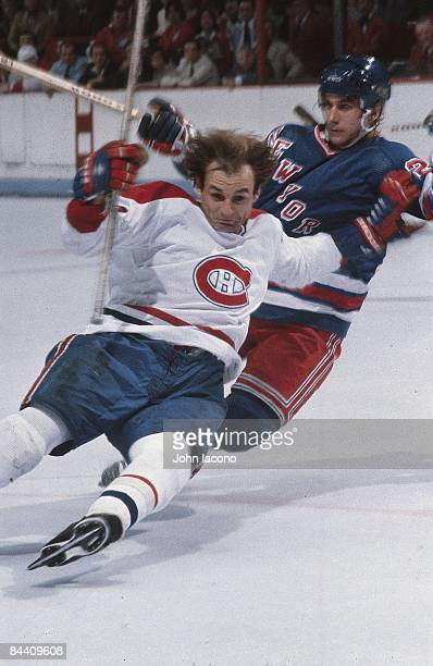 NHL Finals Montreal Canadiens Guy Lafleur in action falling down vs New York Rangers Game 1 Montreal Canada 5/13/1979 CREDIT John Iacono
