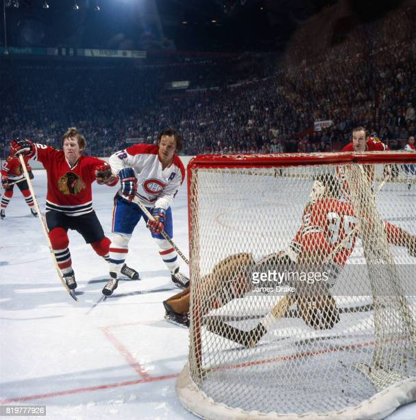 NHL Finals Montreal Canadiens Yvan Cournoyer in action vs Chicago Blackhawks goalie Tony Esposito Game 1 Montreal Canada 4/29/1973 CREDIT James Drake