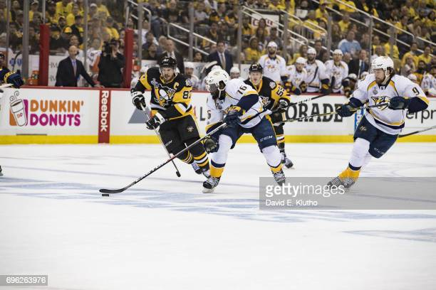 NHL Finals Nashville Predators PK Subban in action vs Pittsburgh Penguins Sydney Crosby at PPG Paints Arena Game 5 Pittsburgh PA CREDIT David E Klutho