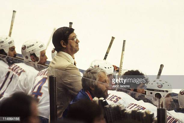 NHL Finals New York Islanders coach Al Arbour with players from bench during Game 2 vs Vancouver Canucks at Nassau Coliseum Uniondale NY CREDIT John...