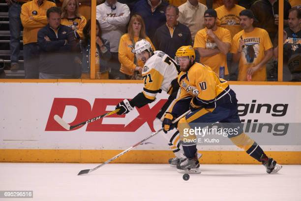 NHL Finals Pittsburgh Penguins Evgeni Malkin in action vs Nashville Predators Colton Sissons at Bridgestone Arena Game 6 Nashville TN CREDIT David E...