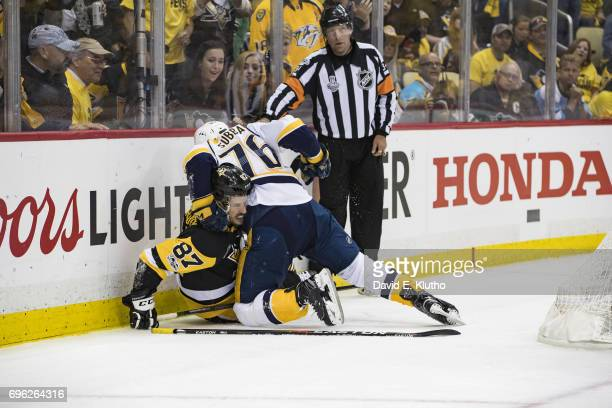 NHL Finals Pittsburgh Penguins Sydney Crosby in confrontation with Nashville Predators PK Subban at PPG Paints Arena Game 5 Pittsburgh PA CREDIT...
