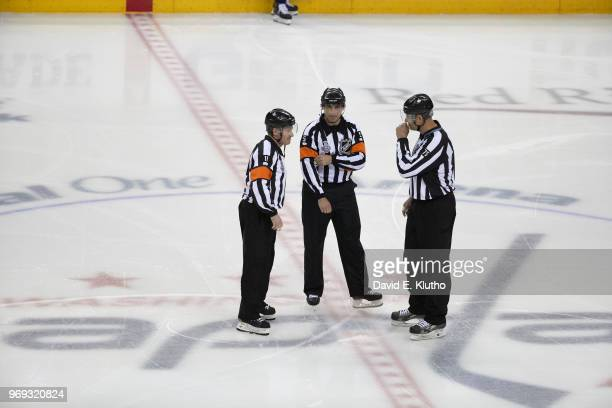 NHL FInals Referees Kelly Sutherland Chris Rooney and Linesman Derek Amell before start of Washington Capitals vs Vegas Golden Knights game at...