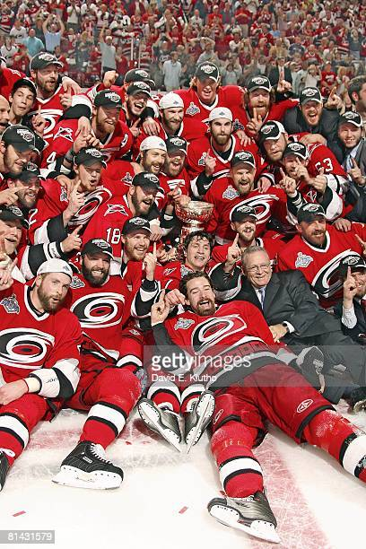 Hockey: NHL Finals, Team Portrait of Carolina Hurricanes Aaron Ward , Bret Hedican , and Justin Williams , Ray Whitney , Rod Brind'Amour , and...