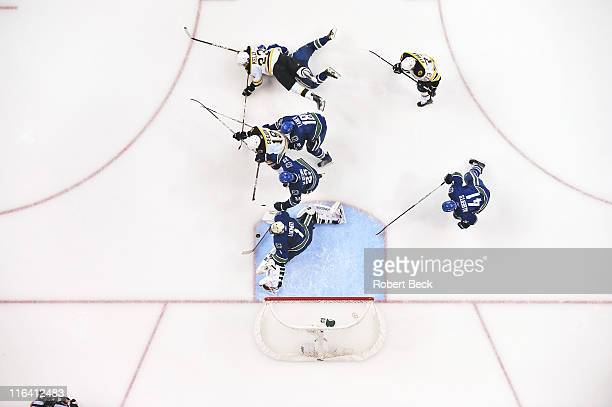 NHL Finals Vanouver Canucks goalie Roberto Luongo in action making save vs Boston Bruins at Rogers Arena Game 5 View of Bruins Chris Kelly Canucks...