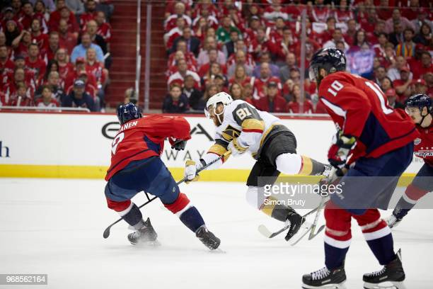 NHL Finals Vegas Golden Knights Jonathan Marchessault in action vs Washington Capitals Matt Niskanen at Capital Arena Game 4 Washington DC CREDIT...
